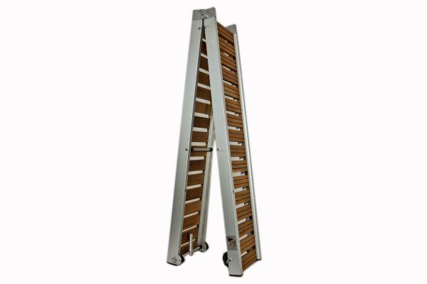passerella pieghevole con legno iroko