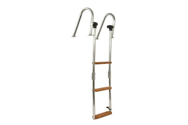 scaletta ribaltabile in acciaio con scalini in legno iroko e con attacco tientibene per plancetta